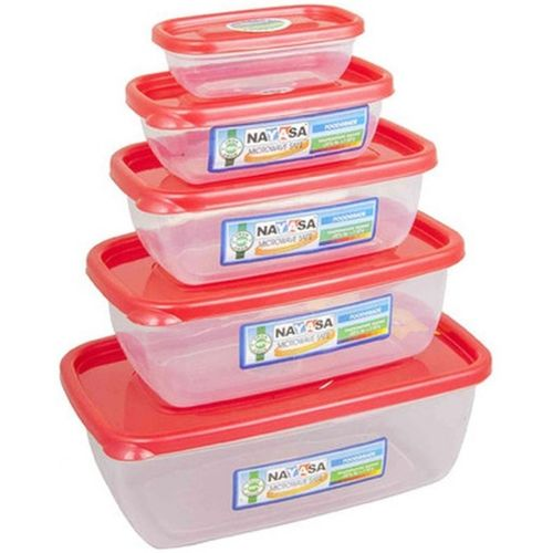 Nayasa Gold Dust Airtight - 1800 ml, 1100 ml, 680 ml, 300 ml, 150 ml Polypropylene Multi-purpose Storage Container (Pack of 5, Red, Clear)