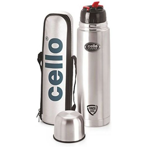 Cello stainless steel water bottle 1000 ml 1000 ml Flask(Pack of 1, Steel/Chrome)
