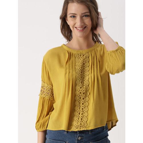 DressBerry Women Mustard Yellow Solid Top