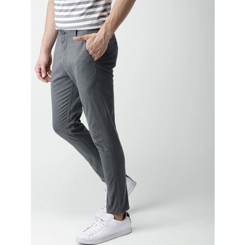Mast & Harbour Men Grey Regular Fit Solid Regular Trousers