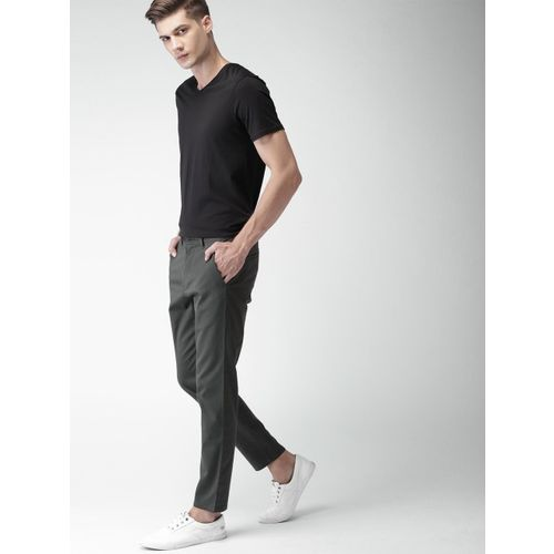 Mast & Harbour Men Charcoal Grey Slim Fit Solid Chinos
