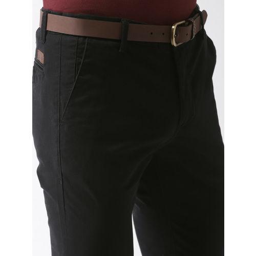 Mast & Harbour Men Black Slim Fit Solid Chinos