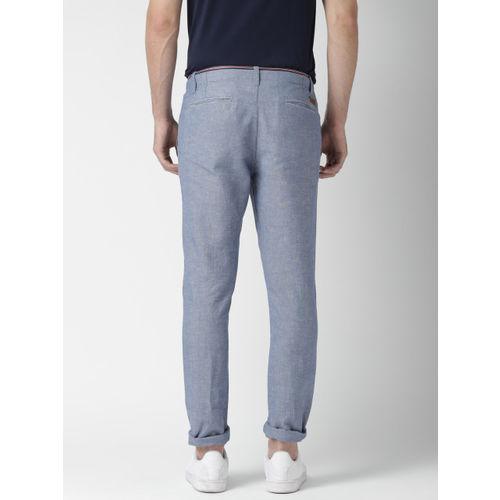 Mast & Harbour Men Blue Linen Blend Casual Trousers