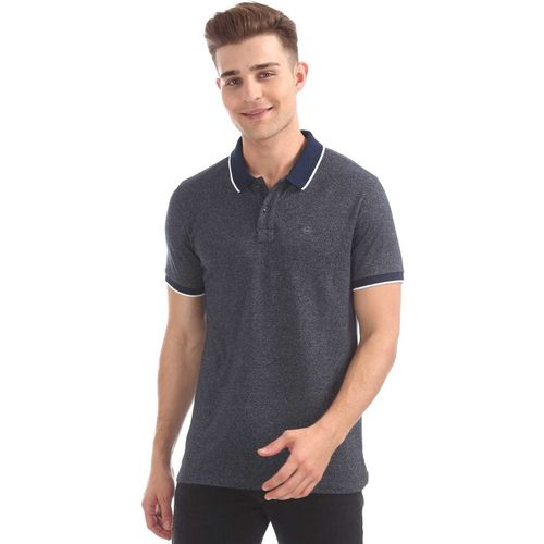Arrow Sport Self Design Men Polo Neck Blue T-Shirt