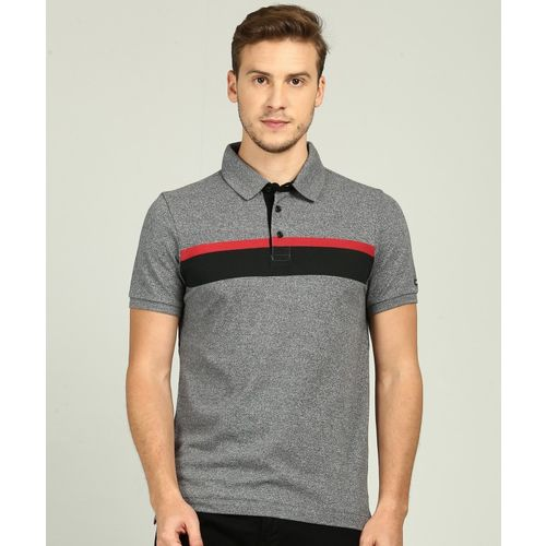 Arrow Sport Self Design, Color block Men Polo Neck Grey T-Shirt
