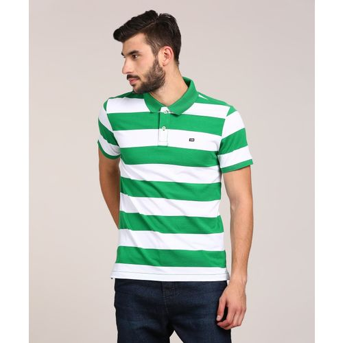Arrow Sport Striped Men Polo Neck Green T-Shirt