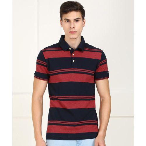 Arrow Sport Striped Men Polo Neck Red, Dark Blue T-Shirt
