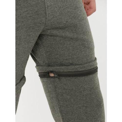 Mast & Harbour Men Charcoal Grey Convertible Joggers