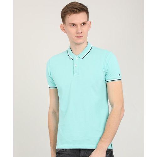 Arrow Sport Solid Men's Polo Neck Light Blue T-Shirt