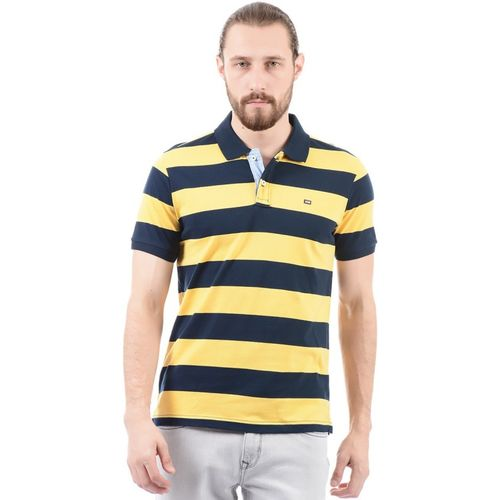 Arrow Sport Striped Men Polo Neck Yellow, Dark Blue T-Shirt