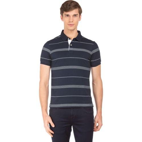Arrow Sport Striped Men Polo Neck Dark Blue T-Shirt