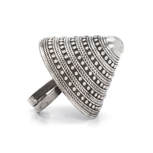 Rubans Women Silver-Plated & Grey Oxidised Contemporary Cocktail Ring