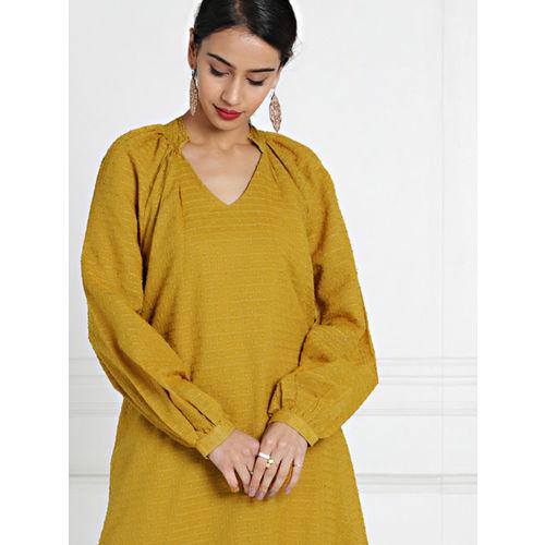 All About You from Deepika Padukone Women Mustard Lurex Dobby A-Line Kurta