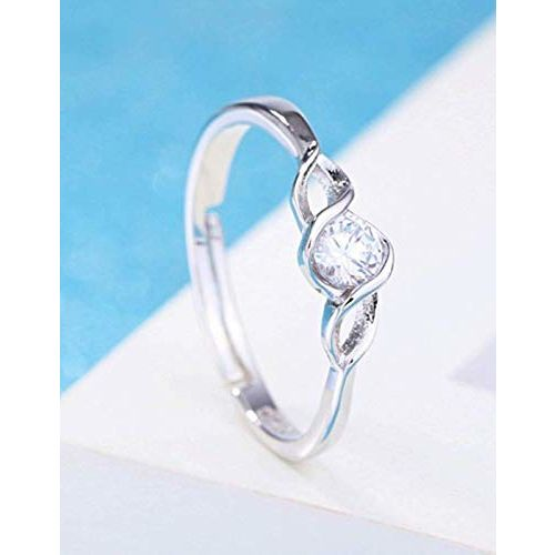 Yellow Chimes Platinum Plated Elegant Classic Crystal Adjustable Ring for Women