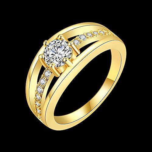 Single Stone Sparkling Layer 18K Gold Plated Cubic Zircon Designer Ring for Women by YELLOW CHIMES
