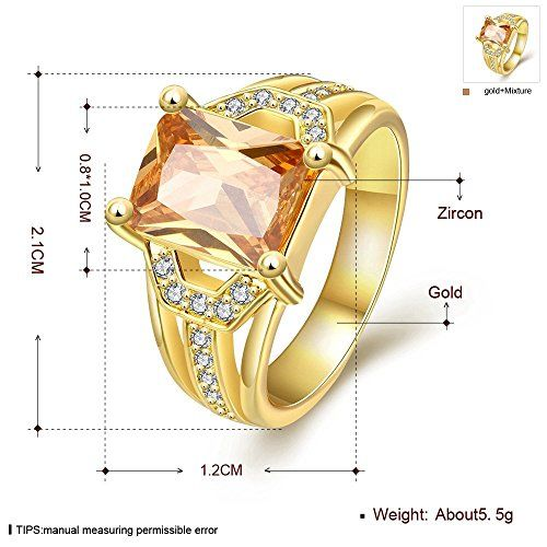 YELLOW CHIMES Sapphire Style Big Yellow Crystal Golden Ring for Womena and Gilrs