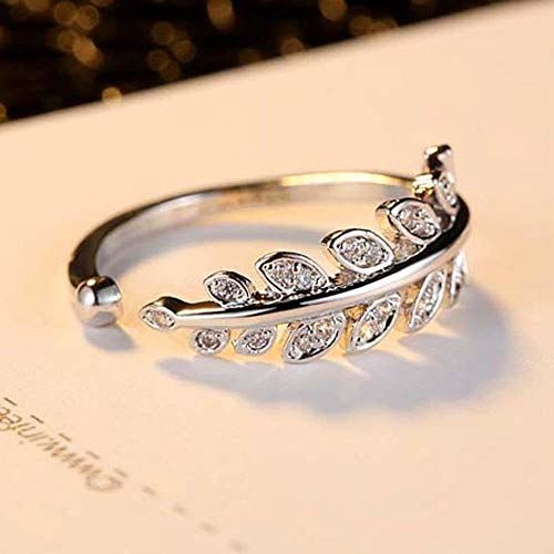 Yellow Chimes Designer Beauty-in-Leaves A5 Grade Crystal Adjustable Silver Plated Ring for Women & Girls