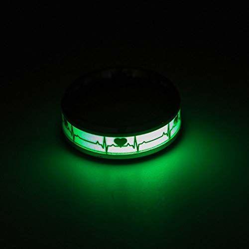 Yellow Chimes Luminous ECG Heartbeat Titanium Glow in The Dark Ring for Women and Men