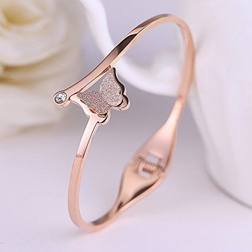 Yellow Chimes Charming Butterfly Surgical Steel 18K Real Rose Gold Plated Bracelet for Women & Girls