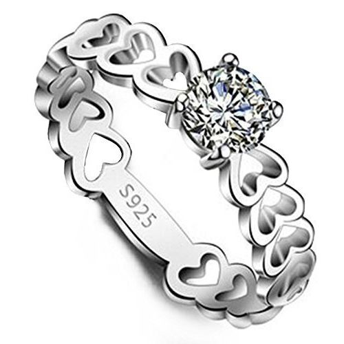 YELLOW CHIMES Heart Ring Dazzling Engagement Proposal Austrian Crystal 925 Silver Plated Designer Ring for Girls