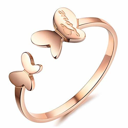 Yellow Chimes Dual Butterfly Love in-Script Surgical Steel Rose Gold Ring for Girls and Women
