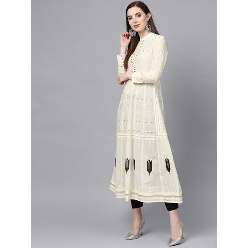 W Women Off-White & Black Printed A-Line Kurta