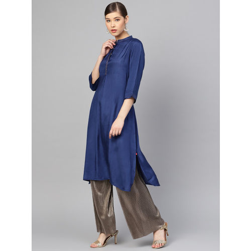 W Women Navy Blue Solid Straight Kurta