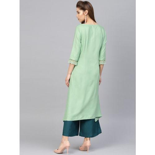 W Women Green Yoke Design A-Line Kurta