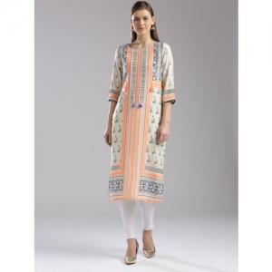 W Women Beige & Orange Printed Straight Kurta