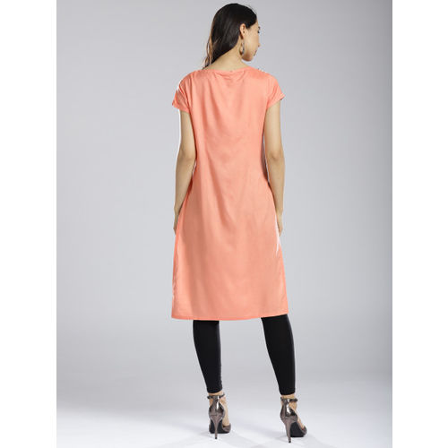 W Women Peach-Coloured & White Striped Straight Kurta