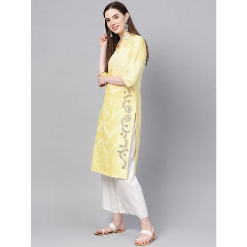 W Women Yellow & White Printed Straight Kurta