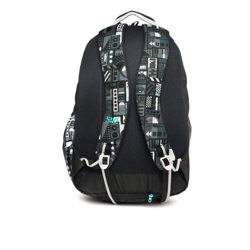 Wildcraft Unisex WIKI 7 Music Black & Green Graphic Printed Backpack