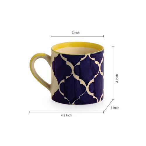 ExclusiveLane White & Blue Set of 6 Hand-Painted Ocean Caffeine Hangouts Ceramic Cups