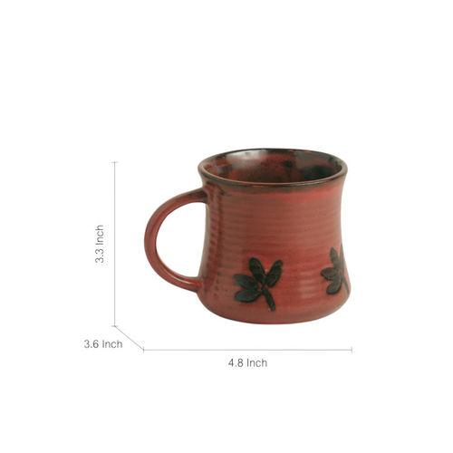 ExclusiveLane Red & Brown 2-Pieces Textured Ceramic Cups Set