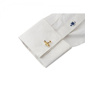 Knighthood Golden Airplane Shaped Cufflinks For Men