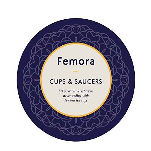 Femora Fine Bone China Classical Blue Border Cup Set with Saucer, Set of 12,200ml