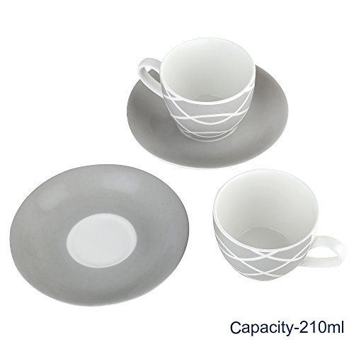 Femora Fine Bone China Grey Color Cup Set with Saucer, Set of 12, 200 ml
