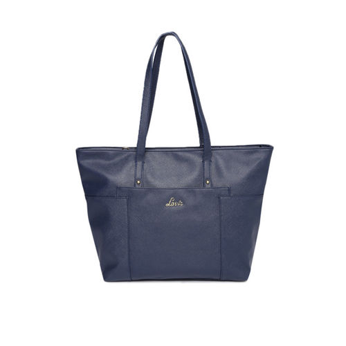 Lavie Navy Blue Textured Shoulder Bag