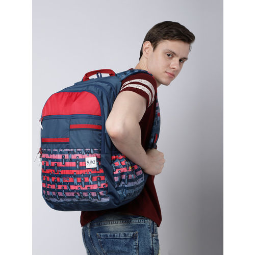 Wildcraft Navy Blue & Red Wiki 6 Character Printed Backpack