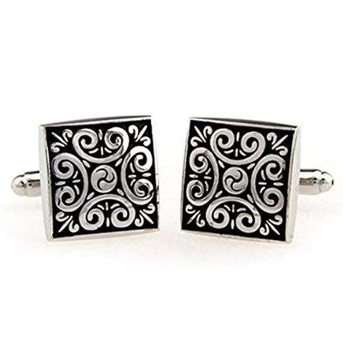 Peora 316L Stainless Steel Black Square Designer Cufflinks for Men Boys Business Corporate Gift