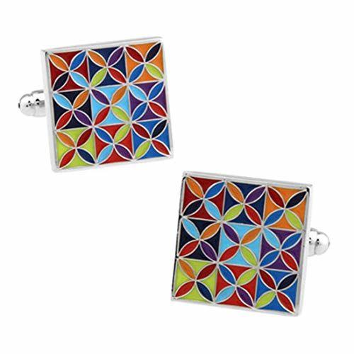 Peora Stainless Steel Square Enamel Multicolour Cufflinks for Men Boys Business Gift