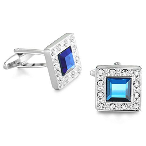 Peora Silver Plated Ocean Blue Navy Swarovski Crystal Square Cufflinks for Men Boys Business Gift