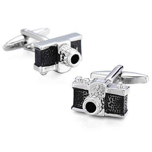 Peora Silver Plated Black Camera Cufflinks for Men Boys Wedding Business Gift