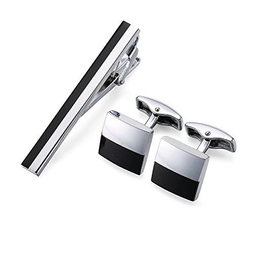 Peora Black Silver Two Tone Combo Set of Tie Pin and Cufflinks for Men Boys Wedding Business Gift