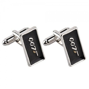 Peora Silver Plated 007 Movie James Bond Cufflinks for Men Boys Business Gift