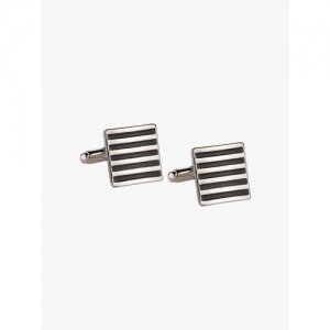 Peora Silver-Plated & Black Square Cufflinks