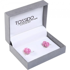 Tossido Pink Polyester Cufflinks for Men (KCL01)