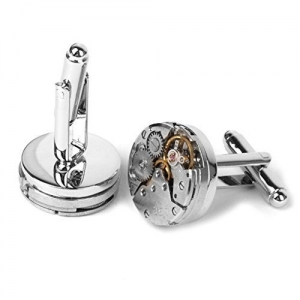 Generic Steampunk Silver and Gold Copper Vintage Watch Movement Cuff Links for Men