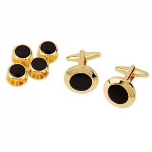 Generic Imported Men Gold Black Tuxedo Cufflinks Formal Dress Shirt Cuff Links Collar Button