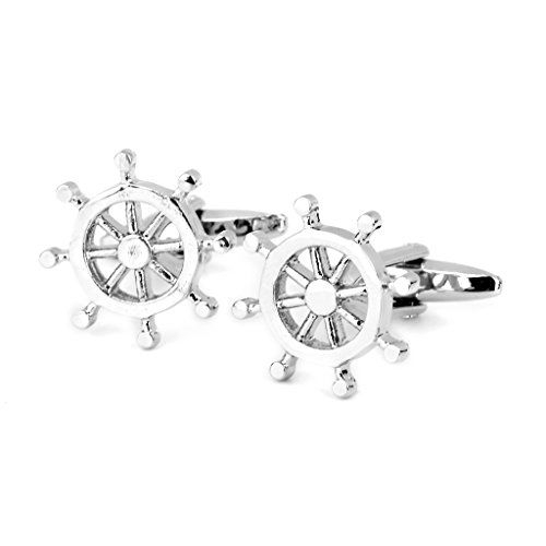 Generic Imported Helm Rudder Shape Shirt Suit Cufflinks Cuff Links Wedding Gift 1 Pair Silver